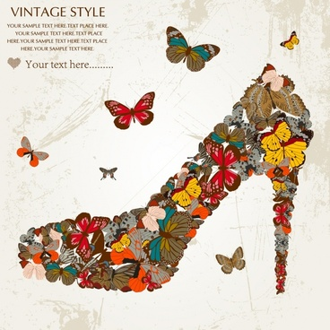 shoes advertising background butterflies icons decor vintage design