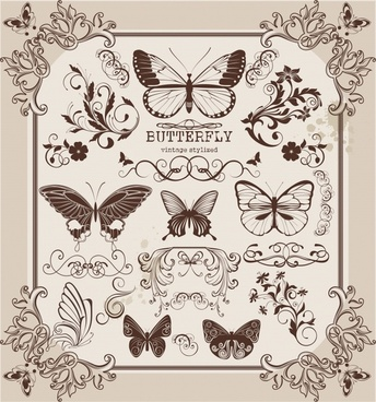 document decorative elements classic symmetric elegant butterflies shapes