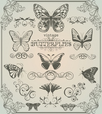 document decorative elements retro butterflies sketch symmetric shapes