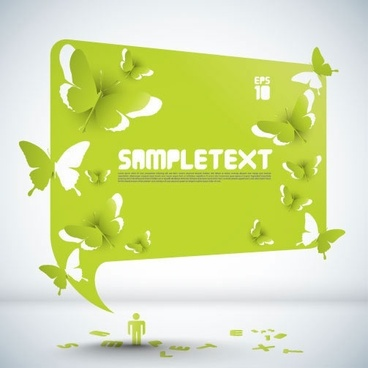 ecology banner green 3d butterflies human texts sketch