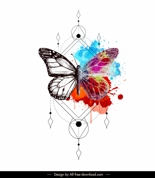 butterfly tattoo template colorful grunge decor symmetric design