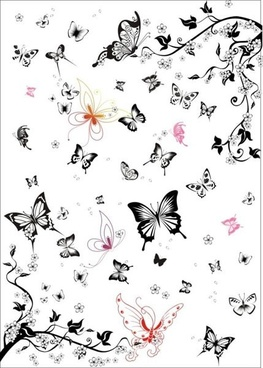 nature background butterflies leaves icons sketch