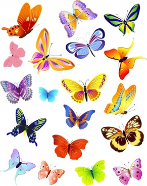 butterfly background colorful icons decor