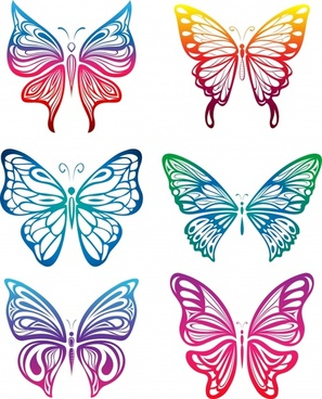 butterfly icons colorful symmetric flat sketch