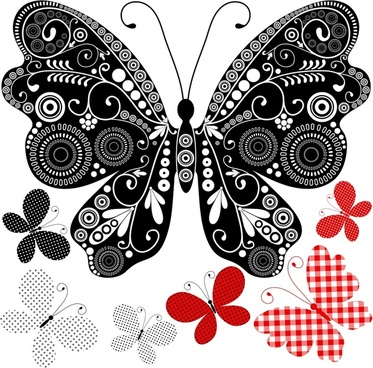 butterflies background elegant flat decor