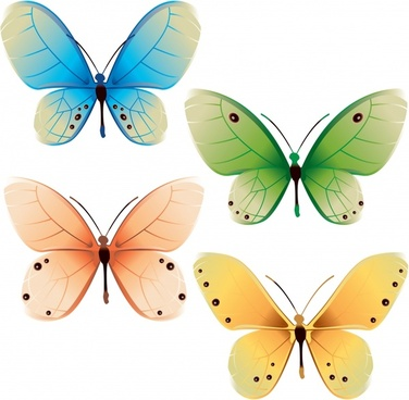 decorative butterflies icons modern colored flat sketch
