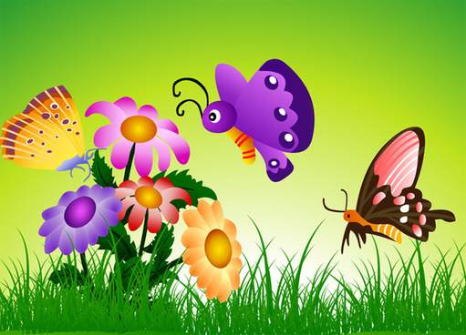 butterfly with flowers background