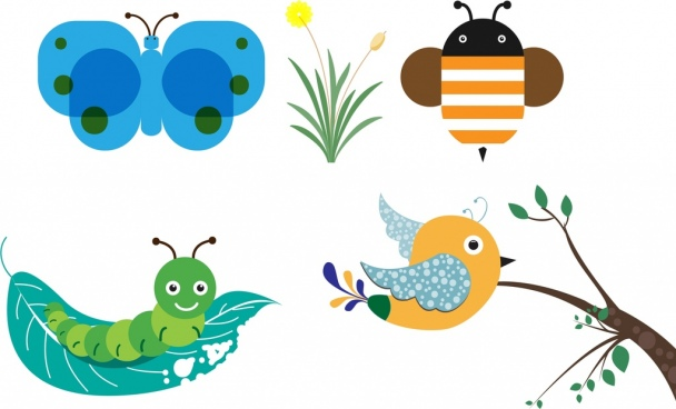 butterfly worm bird bee icons collection cartoon style