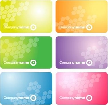 name card templates polygonal decor vivid colored design
