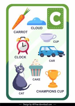 c alphabet educational template colorful flat symbol sketch