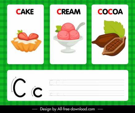 c alphabet teaching template cake crean cocoa sketch