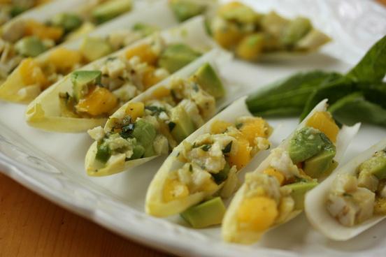 ca avocado mango chicken salad in endive platter 2