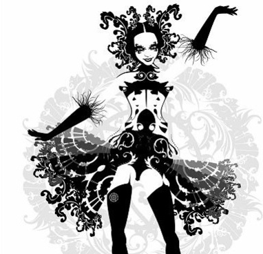 cabaret girl icon design black and white sketch