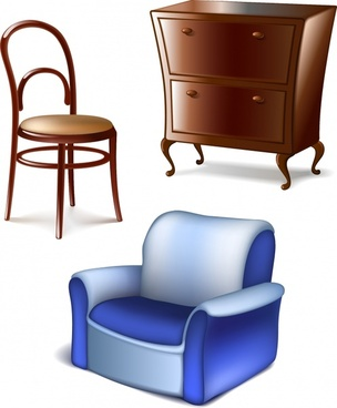 cabinet cases cabinets stool chair vector