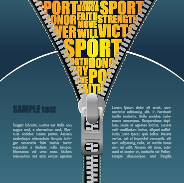sports background various texts colored zipper decoration
