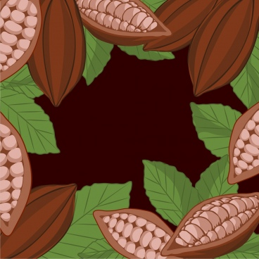 cacao fruits background dark brown green design