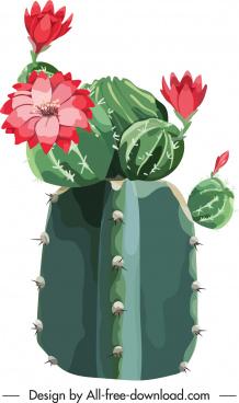 cacti flower painting blooming sketch closeup design