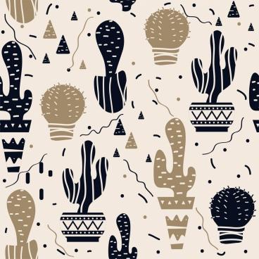 cactus background dark flat sketch repeating design