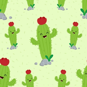 cactus background green stylized icons repeating design