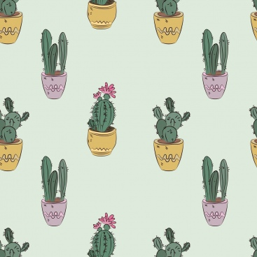 cactus background multicolored repeating icons