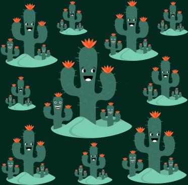 cactus background stylized tree green tree icons