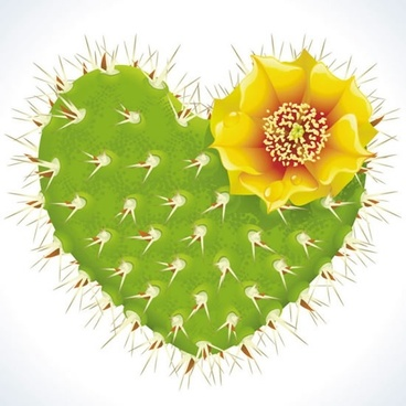 cactus flower romantic heartshaped pattern vector