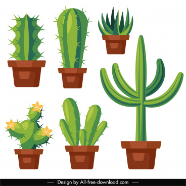 cactus flowerpot icons colored flat sketch