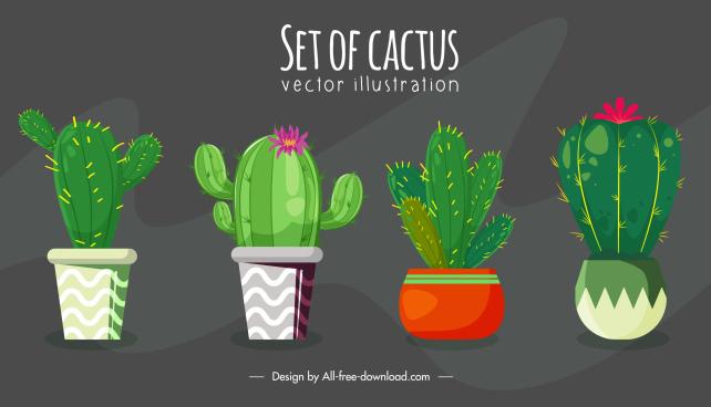 cactus houseplant background classic handdrawn design