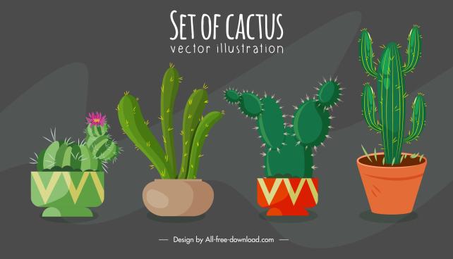 cactus houseplant background retro handdrawn sketch