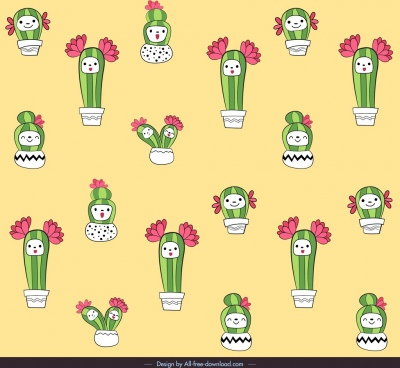 cactus pattern template cute repeating stylized handdrawn sketch