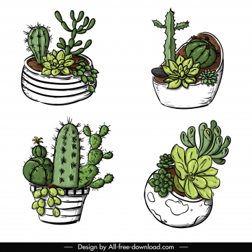 cactus pot icons classic handdrawn sketch