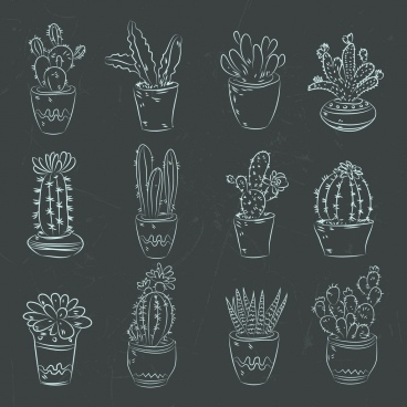 cactus pots icons dark design handdrawn decoration