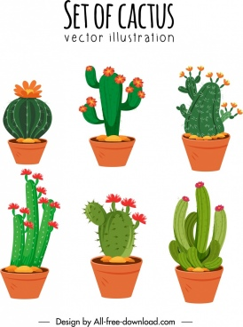 cactus pots icons flora thorny shapes sketch