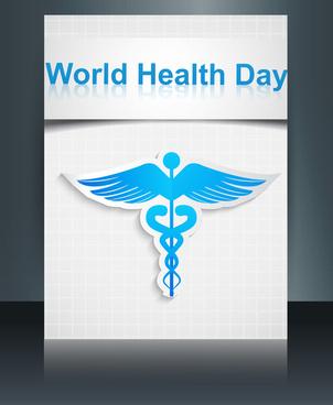 caduceus medical symbol brochure colorful template world health day reflection design vector