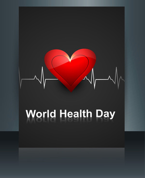 caduceus medical symbol brochure colorful template world health day reflection design vector