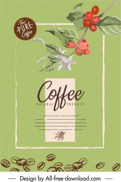 cafe advertising poster retro design natural botany sketch