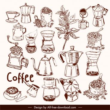 cafe design elements handdrawn retro symbols sketch
