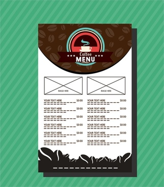 cafe menu template coffee bean and contrast background