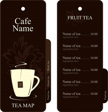 tea menu template elegant classic dark brown decor