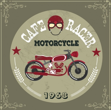 cafe racer advertisement motorcycle icon vintage design