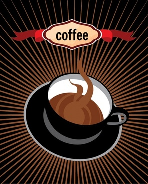 coffee advertising background 3d cup icon rays decor