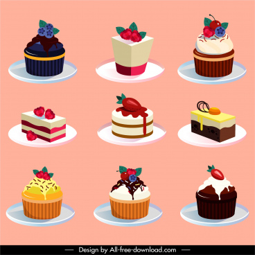 cake dessert icons colorful fruity decor