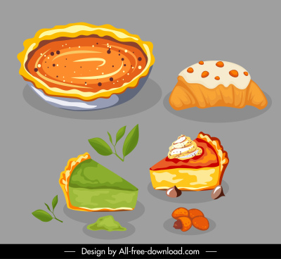 cake icons colorful classical handdrawn sketch