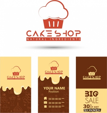 cake shop logotype various promotional background