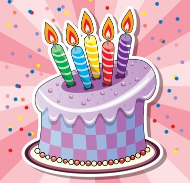 birthday background cake candle icons multicolored design