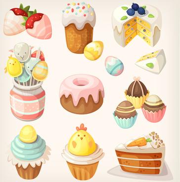 cake wiht sweet vector set