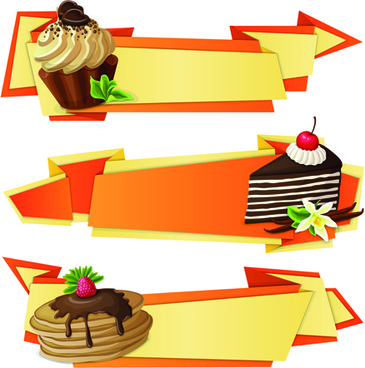 cake with origami banner vector