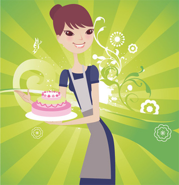 cake with woman vector