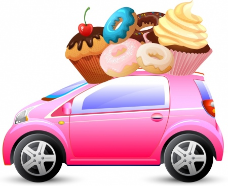 cakes advertisement car transportation icon colorful decoration