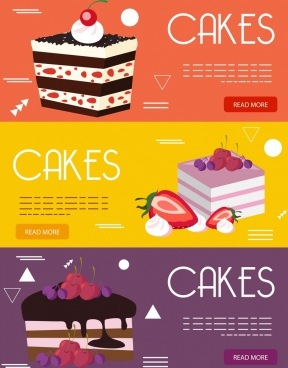 cakes advertising banner colorful decor webpage design